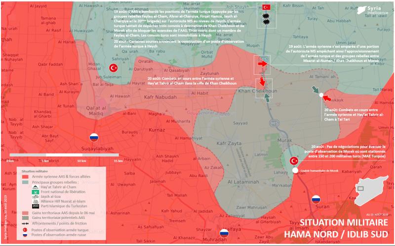 Situation militaire dans le gouvernorat de Hama au 20 août 2019 : L'AAS rentre dans Khan Cheikhoun