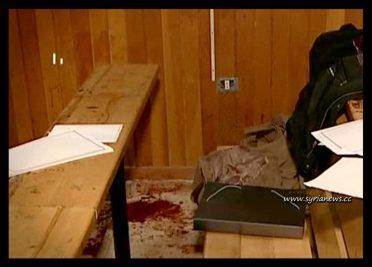 Scene from the terrorist crime at the Damascus University 27 December 2011