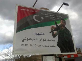 Banner in Tripoli, Libya mourning the death of a Libyan terrorist in Syria