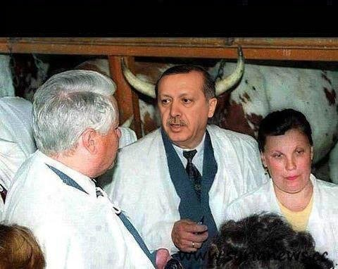 A rare shot of Turkish prime minister.
