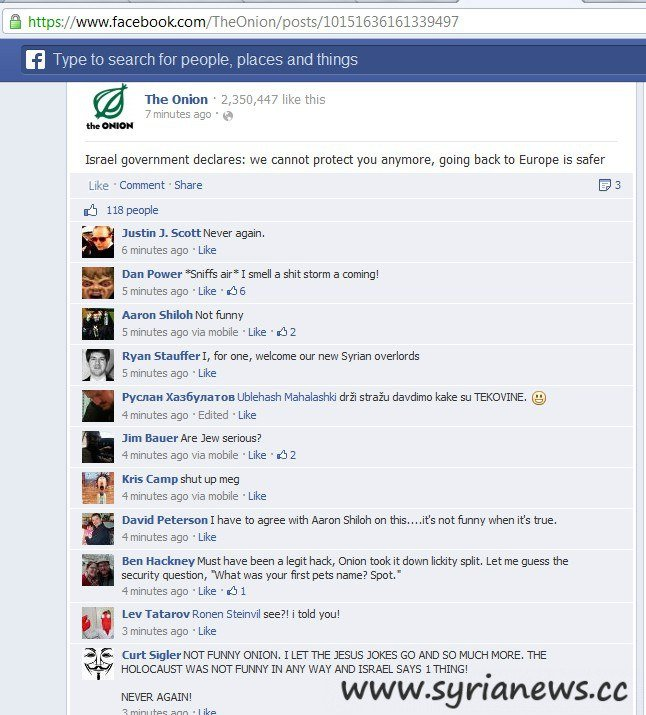 The Onion on Facebook visited by SEA