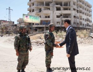 Syrian President Assad inspects Army Soldiers in Daraya