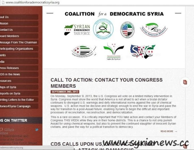 Coalition for a Democratic Syria call on US Congress to approve bombing Syria..!