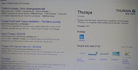 "As for the criminal traffickers of Syrians and the criminals illegally entering Syria, and their subtle advertising of T[h]uraya, the mystery of the relationship of these companies, has finallly been solved, in the same fashion that Edgar Allen Poe's Inspector Dupin found ""The Purloined Letter."" It is in plain sight:"