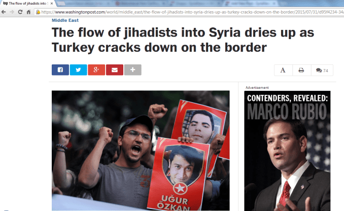 Washington Post Praises Turkey Role in Drying Up Jihadists Influx to Syria
