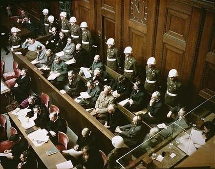 Rare colour photo of the trial at Nuremberg