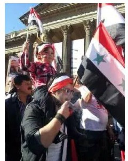 Syrians in Europe: Viva Syria Al Assad, carrying the flag of independent Syria. No for partition.