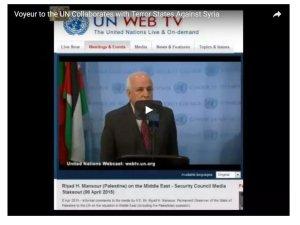 Dr. Riyad H. Mansour, addressing the media after weekend of secret meetings.