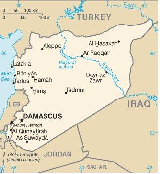 """Deir Ezzor is spelled """"Dyr az Zawr"""" in this map"""