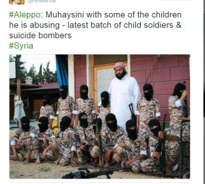 saudscum illegally in syria training child assassins