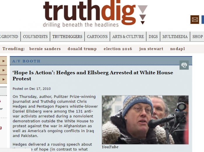 hedges & ellsberg among 131 WH arrests Dec 2010