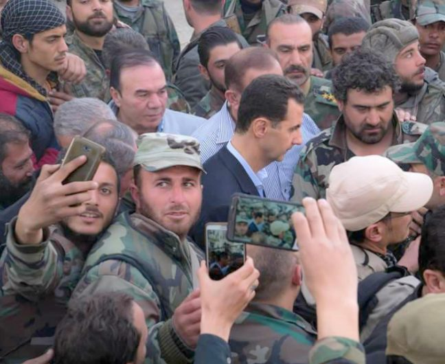 President Assad, surrounded by members of the courageous Syrian Arab Army.