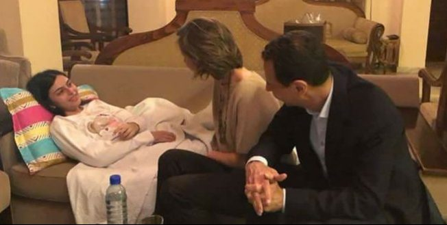 femicide President & Mrs. Assad visited Christine Hourani on blessed Easter. Christine was seriously wounded by terrorist bombs fired from Eastern Ghouta, 21 January.