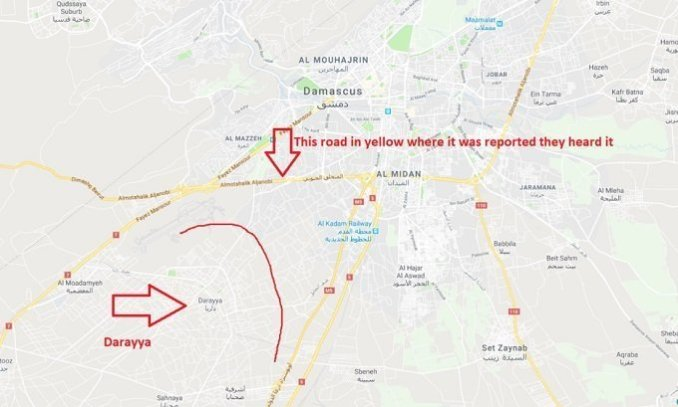 map showing where explosions happened