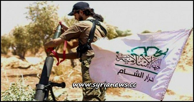 A Wahhabi terrorist from Ahrar Cham terrorist group in Idlib firing a mortar against towns in Hama countryside