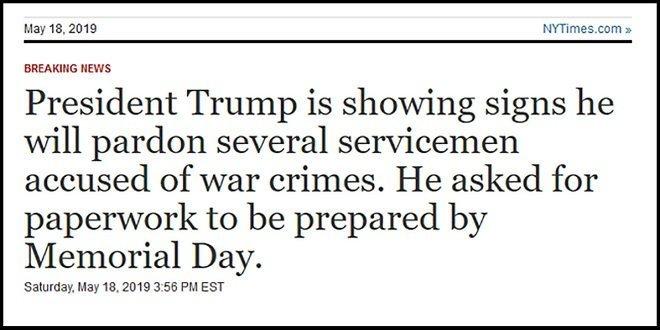Trump to Pardon War Criminals of his Ilk