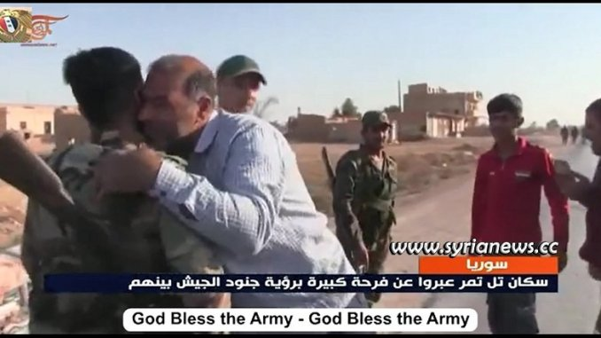 Locals welcoming SAA units entering Tal Tamr in Hasakah Province northeast Syria