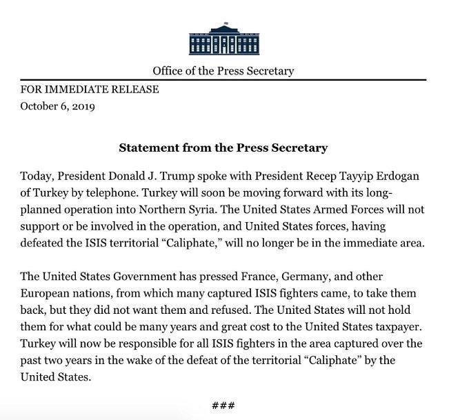Trump wh- Kurds sdf-turkey Erdogan