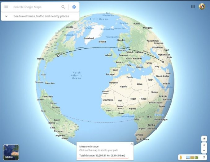 Distance between Iran and the USA only 10,200 Kilometers (6,345 miles)