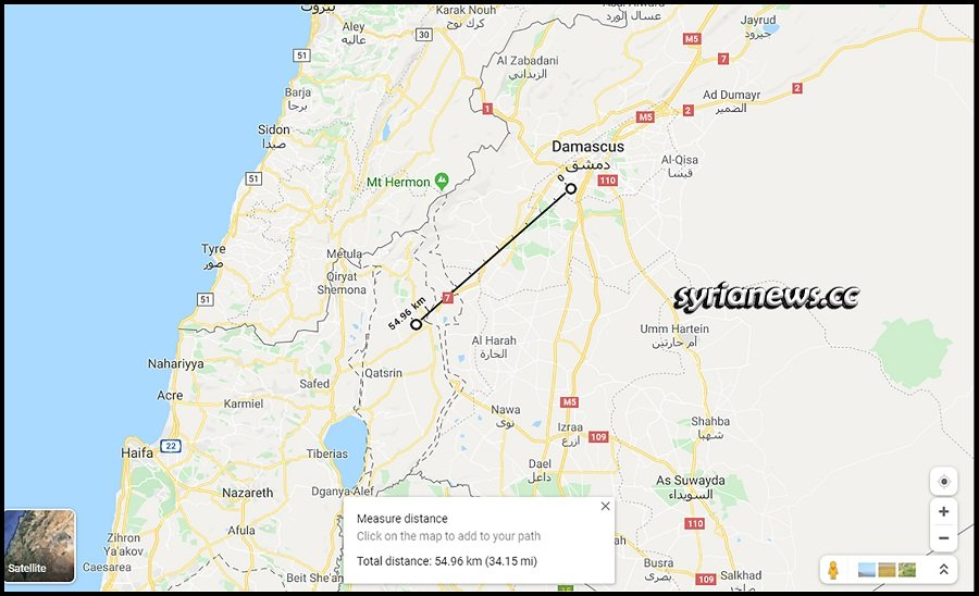 distance between Damascus and the occupied Golan is less than 55kms