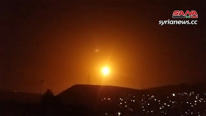 SAA air defenses confront incoming israeli missiles