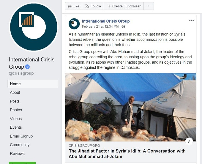 Crisis Group's post promoting al-Qaeda's commander on social media not censored