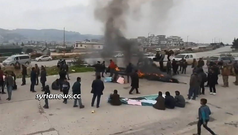 M4 Aleppo - Latakia highway - blocked by Erdogan's HTS terrorists and their children