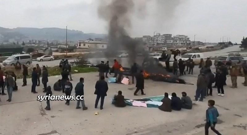 M4 Aleppo - Latakia highway - blocked by Erdogan's HTS terrorists and their children