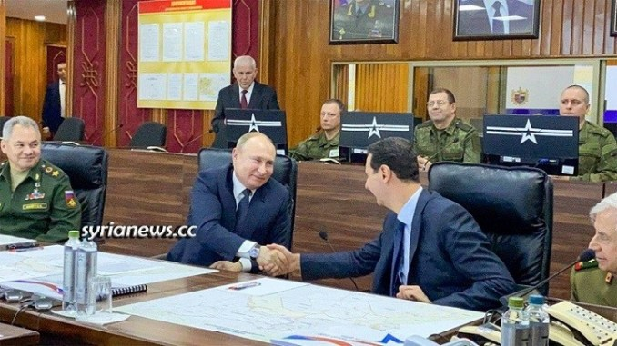 Russia and Syria Relations - President Putin and President Assad in Damascus Military HQ