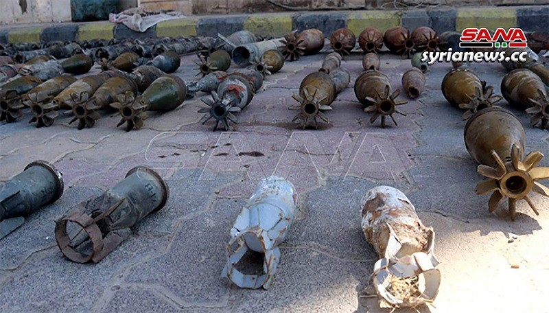 Weapons and munition left behind by US-sponsored ISIS terrorsits in Deir Ezzor, Syria