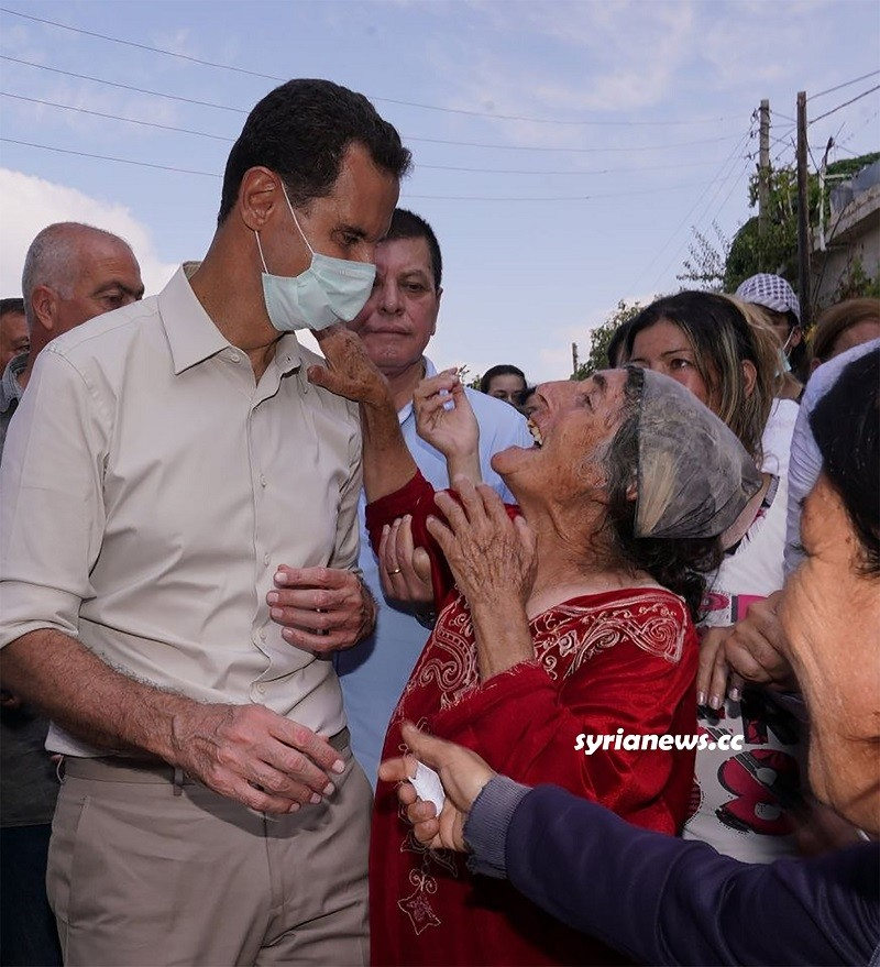 President Assad with the locals in Latakia countryside