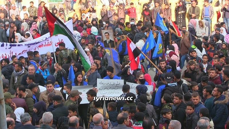 Hasakah people protesting cutting off alouk water