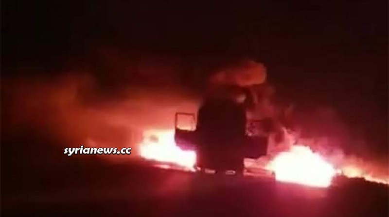 NATO ISIS terrorist attack on buses on Salamiyah - Ithriyah road in Hama
