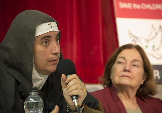 "Mother Agnes Mariam of the Cross with Mairead Maguire speaking in London on behalf of ""Save the Children of Syria"" yesterday"