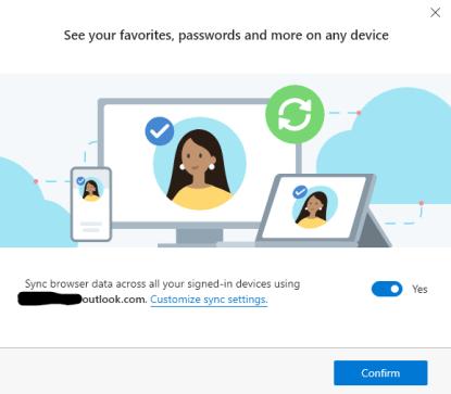 Microsoft Edge First Run - Sync