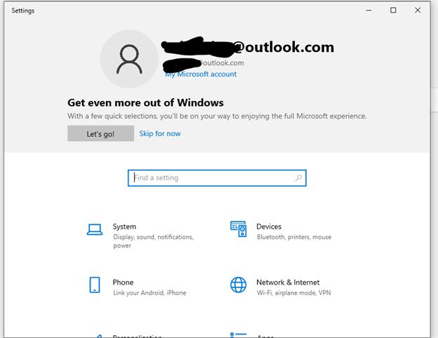 Windows Settings Header