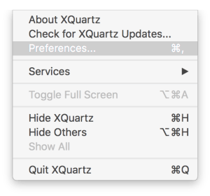 XQuarts Setting Menu