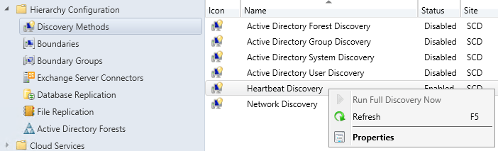 SCCM Discovery Methods