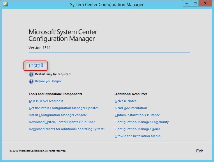 SCCM 1511 installation