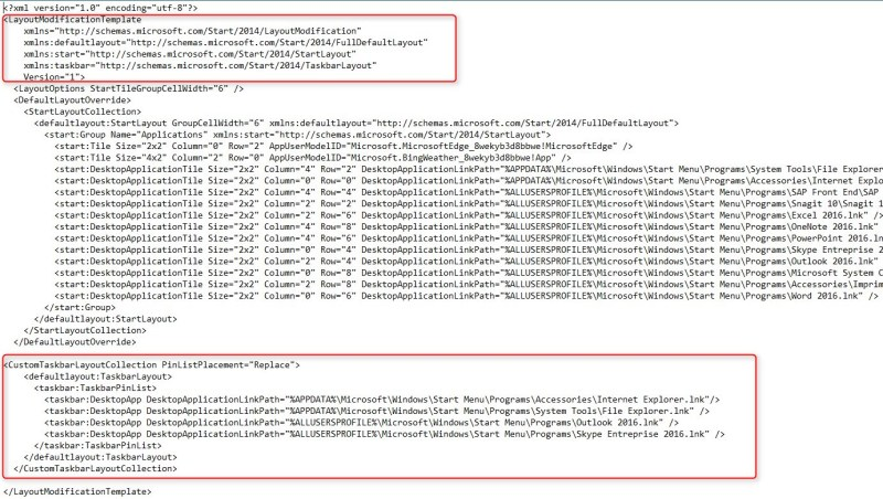 SCCM Windows 10 Taskbar configuration