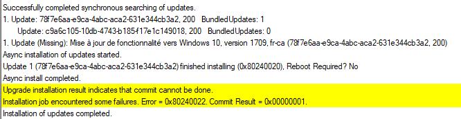 SCCM Windows 10 Feature Update Error 0xC1900208