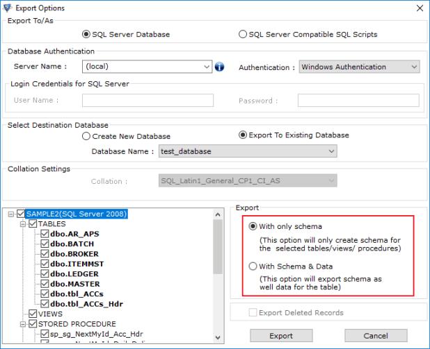 Export with Schema & Data