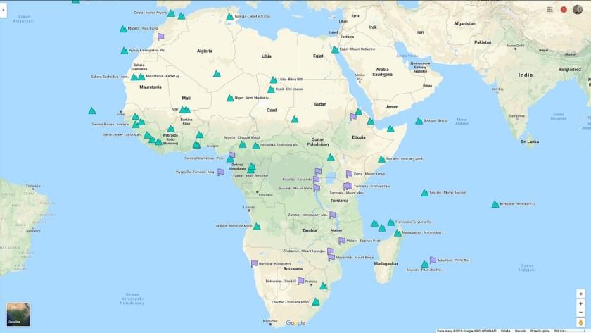 Najwyższe szczyty afrykańskich państw na mapie