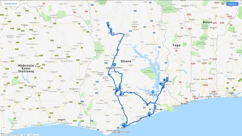 Trasa podróży po Ghanie