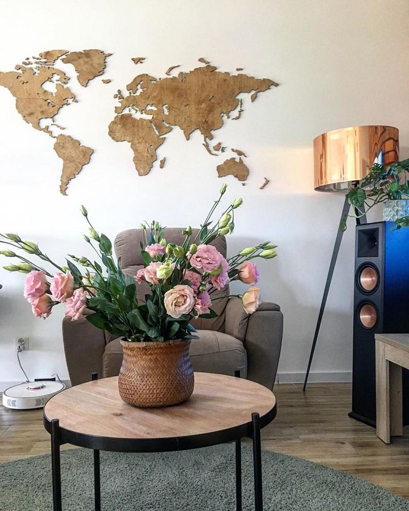 Dekoracja domu - drewniana mapa świata 3d na ścianę z granicami