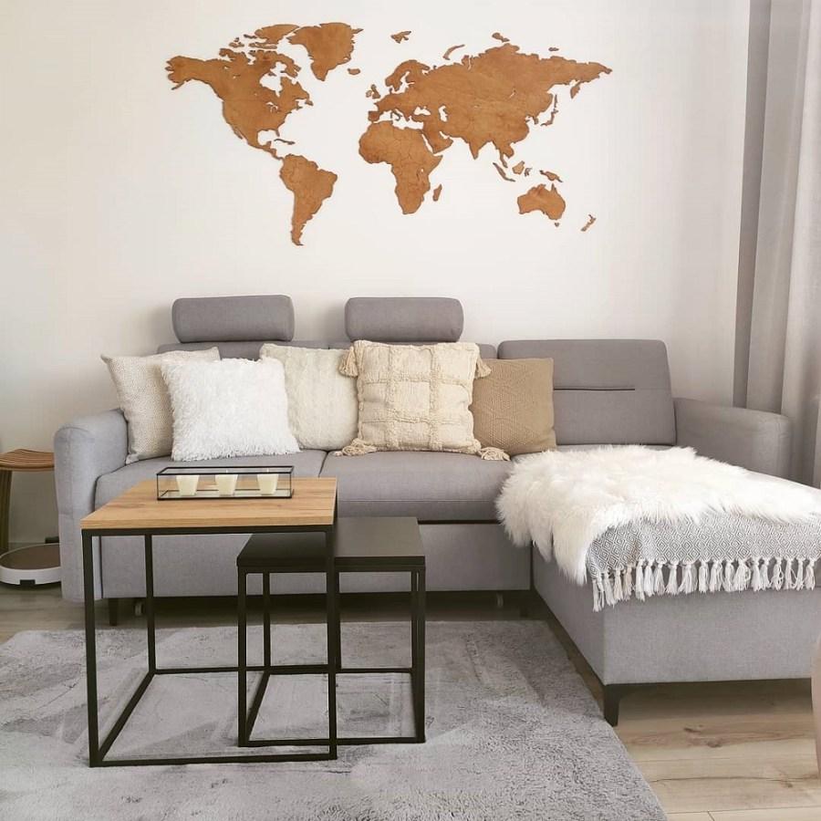 Dekoracja domu - drewniana mapa świata na ścianę z granicami