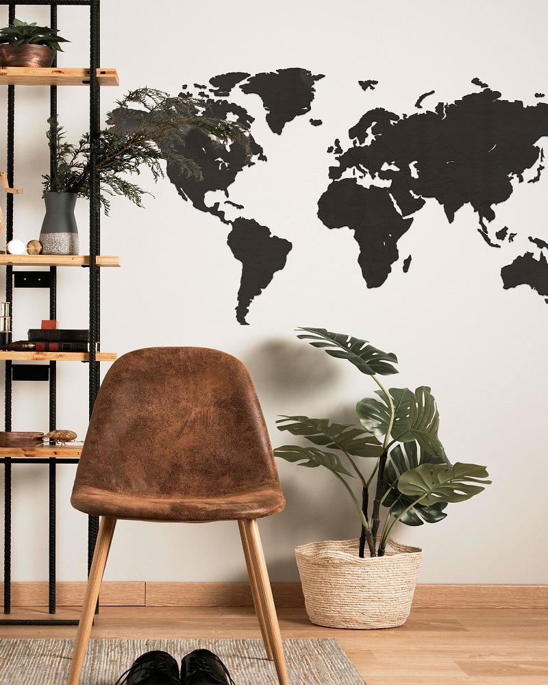 Drewniana mapa świata 3d do pokoju na ścianę z granicami