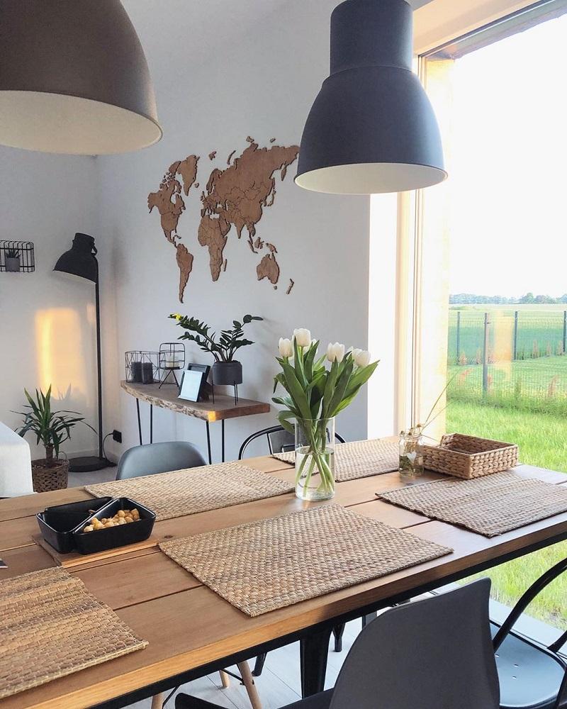Drewniana mapa świata do kuchni na ścianę z granicami