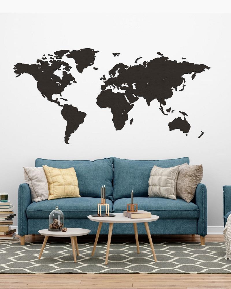 Drewniana mapa świata do pokoju na ścianę z granicami - palisander