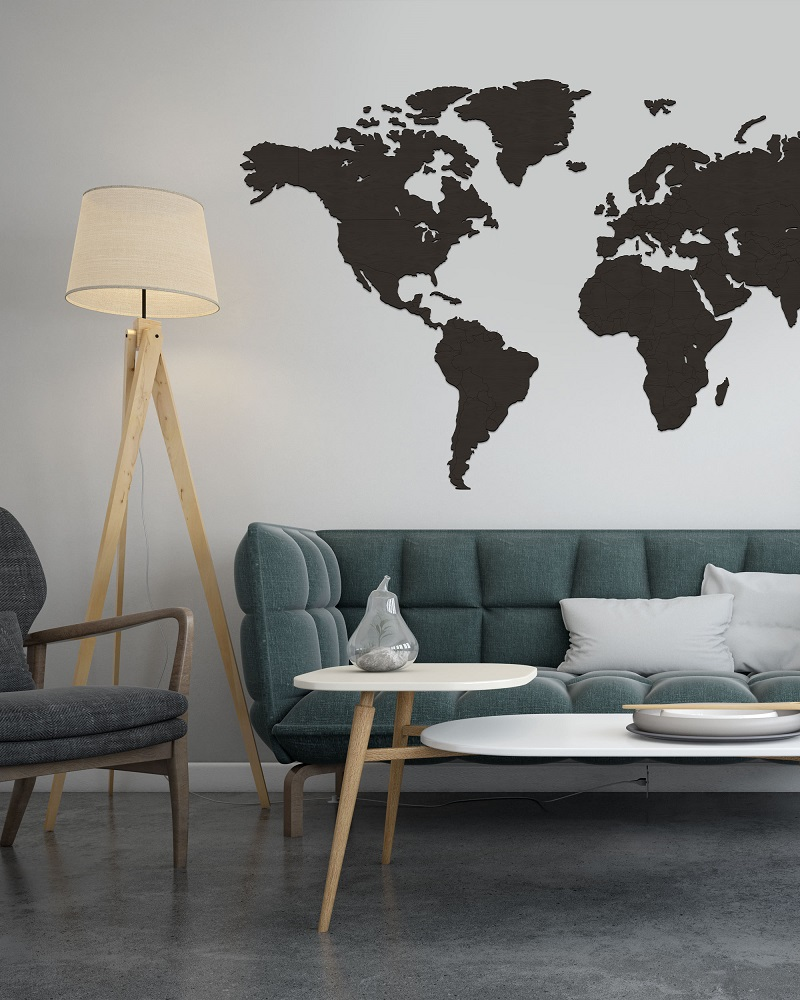 Drewniana mapa świata do pokoju na ścianę z granicami